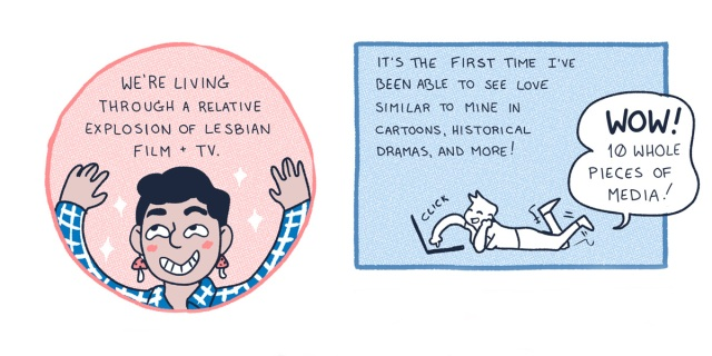 A two-panel comic, in which a queer human with short black hair has their hands up in a pink circle talks about the abundance of queer television and film in 2020. In the next panel, a blue rectangle, a sketch figure lays on the floor and goes through a movie streaming service.