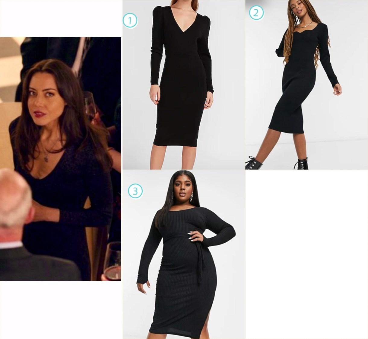 A variety of slinky black dresses like Aubrey Plaza