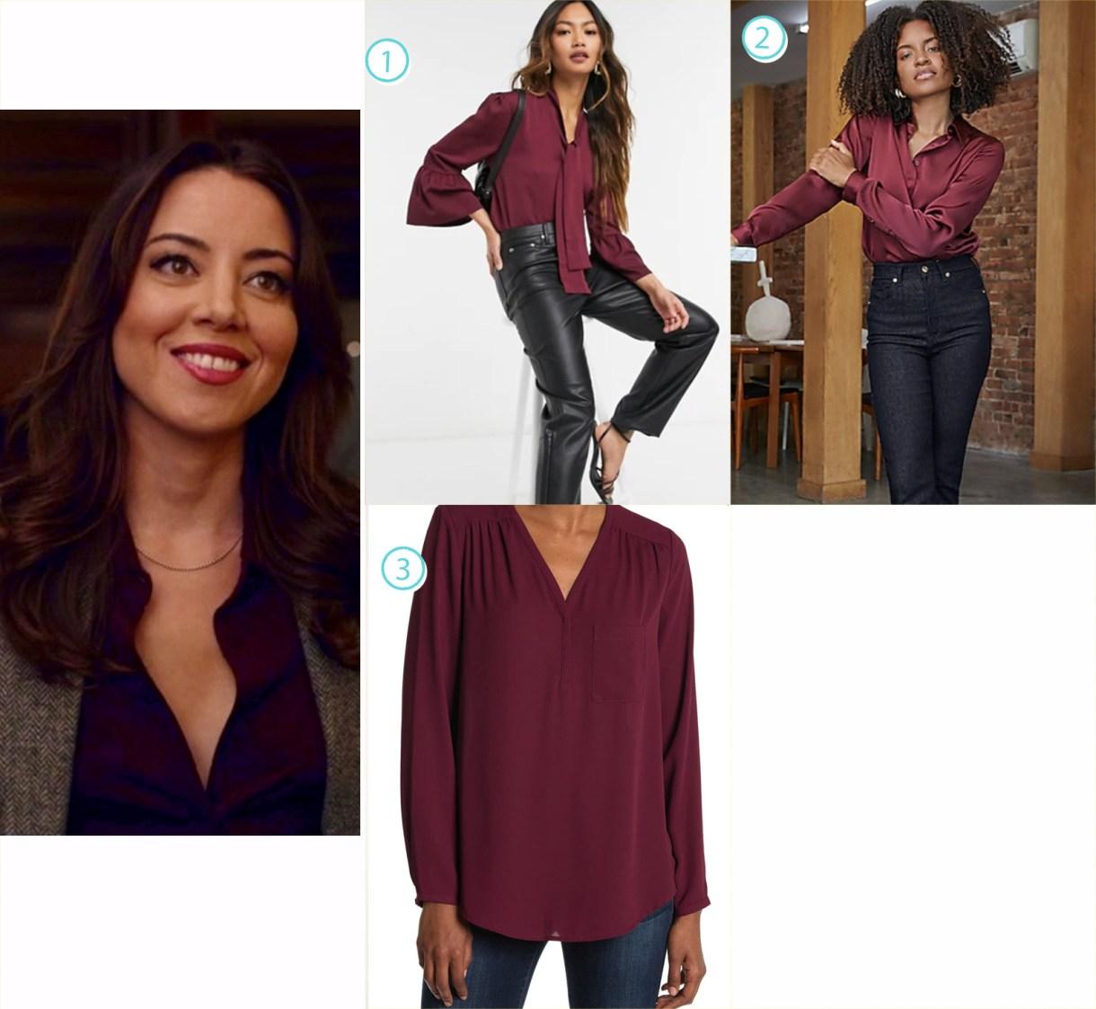 A variety of purple blouses like Aubrey Plaza