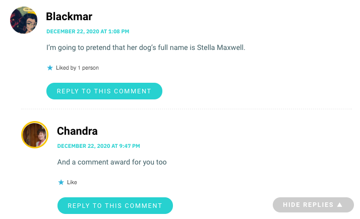 I'm going to pretend that her dog's full name is Stella Maxwell.