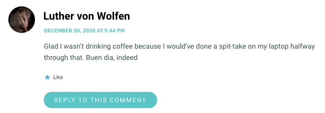 Glad I wasn't drinking coffee because I would've done a spit-take on my laptop halfway through that. Buen dia, indeed