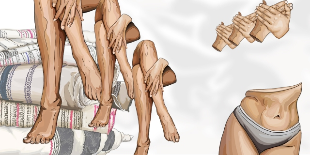 A collage of illustrated images of a pile of blankets, a pair of tightly crossed legs, and a disembodied lower torso with hands clasped above it