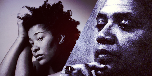 A Black and White collage of the author with Audre Lorde, side by side on a diagonal.