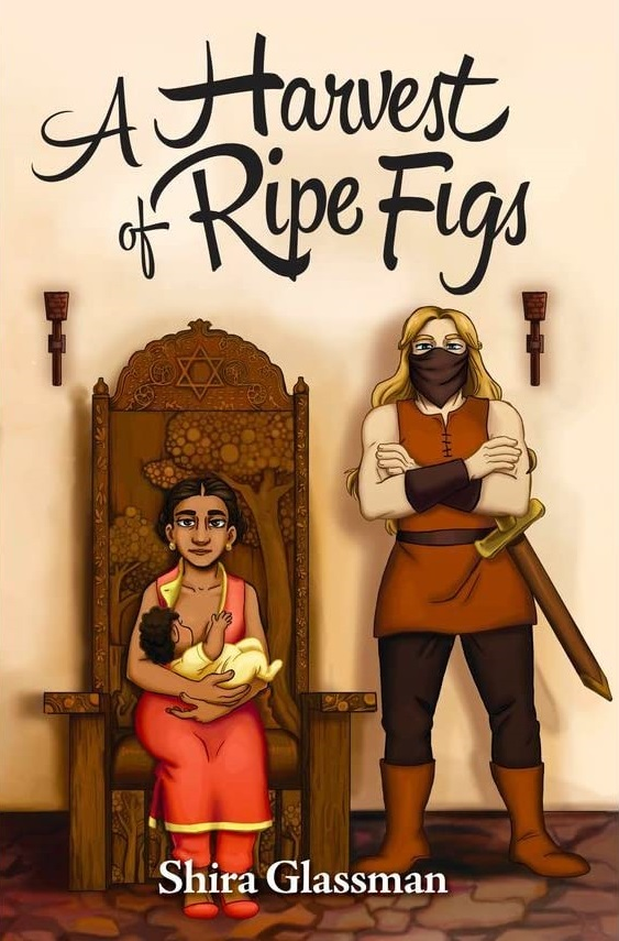 cover of a Harvest of Ripe Figs: a brown woman with dark hair in a South Asian style dress is seated in a throne holding a baby, while next to her a white blonde woman wearing a mask crosses her arms, a sword at her hips