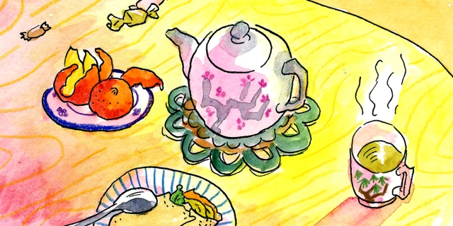 A warm-hued water color of a yellow table, lit in sun rays with pink and orange hues at the edges. On he table is a pink teacup and cup of green tea.