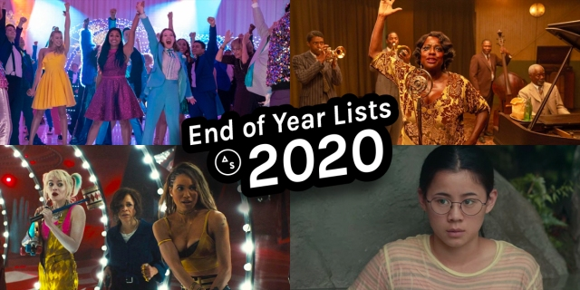 A collage of some of the best movies of 2020 from our list, including: The Prom, Ma Rainey's Black Bottom, Harley Quinn, and The Half of It