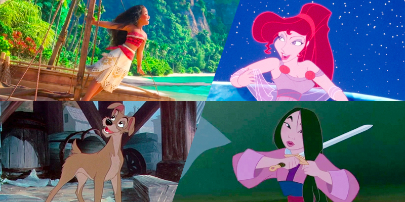 A collage from the Bisexual Disney Characters list: Moana, Megara, Tramp, and Mulan.