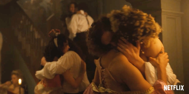 Two women make out in the Bridgeton trailer.