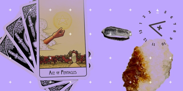 The ace of pentacles, two crystals, and the A+ logo swim together against a lavender background. The ace of pentacles card depicts a disembodied hand holding up a glowing pentacle or five pointed start within a circle, against a clear sky and above a stone wall with a wide open gate