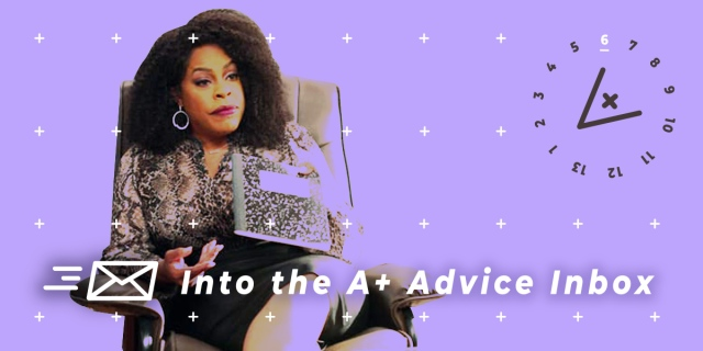 Niecy Nash portrays Dr. Jamie Ryan on Never Have I Ever, a therapist. She sits in a chair with a notebook. This image has the 13 Days of A+ treatment with a lavender background.