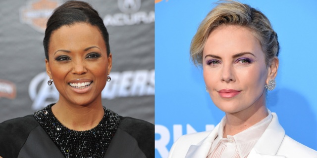 A collage of Aisha Tyler and Charlize Theron