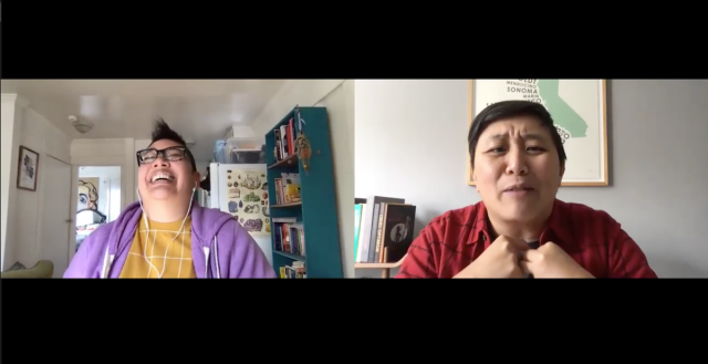 a screenshot of a zoom conversation. on the left kamala throws back her head laughing and on the right karen tongson has her face screwed up with discomfort and her fists pressed together.