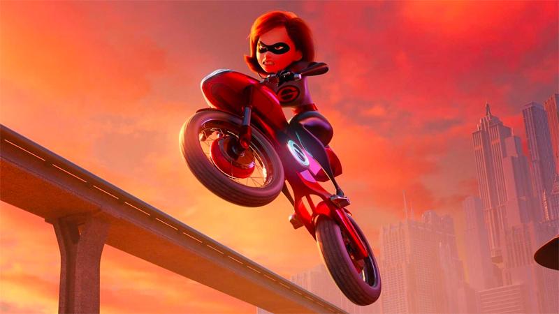 Elastigirl does stunts on her motorcycle.