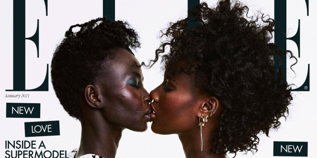 Aweng Ade-Chuol and her wife kiss on the cover of Elle magazine.