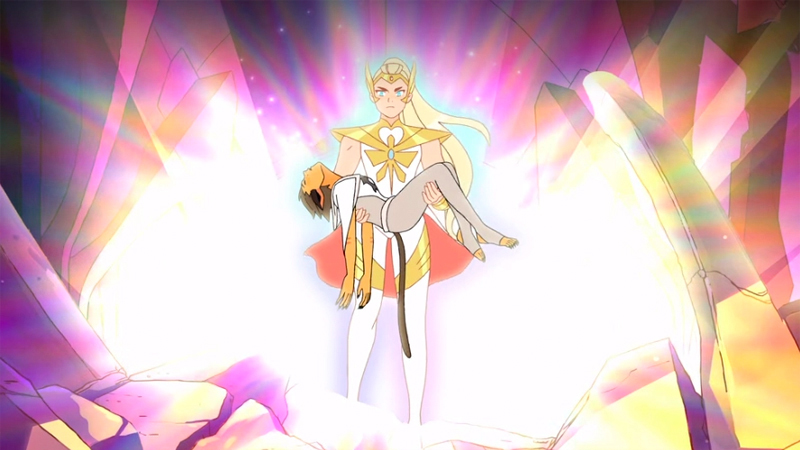 She-Ra carries Catra's limp body out of the Heart of Etheria in one of the Best Queer TV Episodes of the year.
