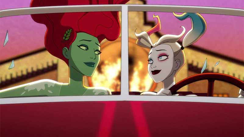 Harly and Ivy ride off into the sunset in the season two finale of Harley Quinn, a total Best Queer TV Couples of 2020 move!