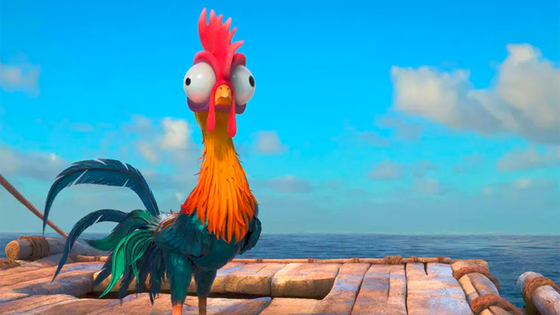 Hei Hei stands on a boat deck and looks confused and nervous.