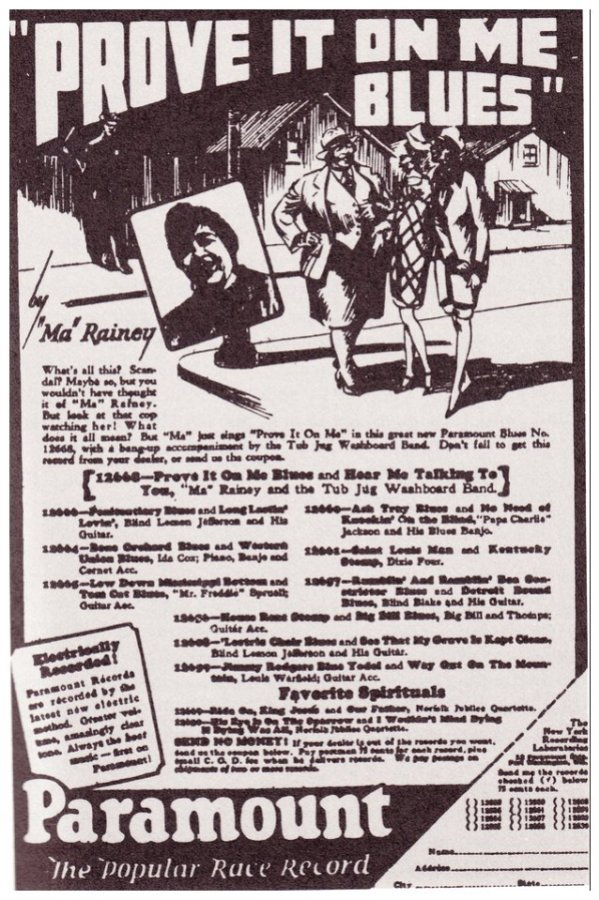 """An ad for Ma Rainey's song """"Prove It On Me Blues."""" This ad is the beginning of showcasing the history of Ma Rainey as a queer legend."""