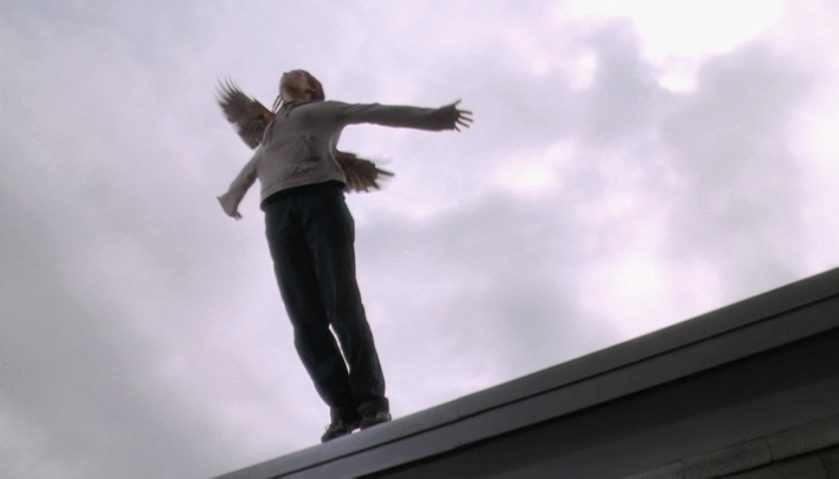 A scene from Lost and Delirious where Paulie is poised to jump from a roof with a falcon mysteriously behind her