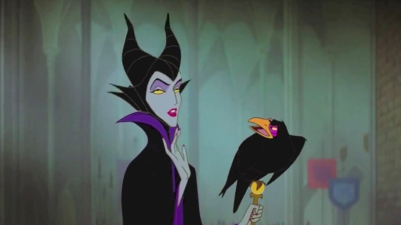 Animated bisexual Disney character Maleficent chats with her raven.