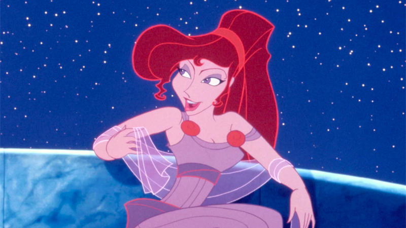 Megara leans casually and smirks.