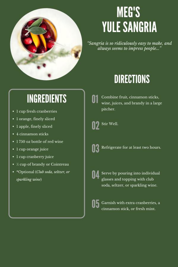 A recipe for Meg's Yule Sangria.