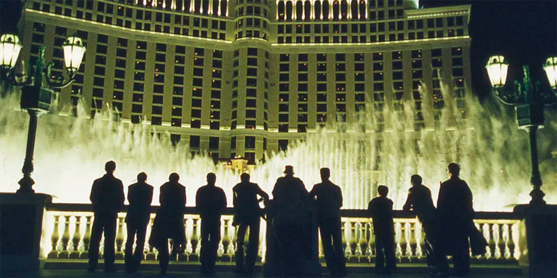 The cast of Ocean's 11 in front of The Bellagio.