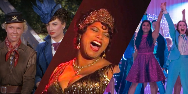 A collage from our queer women musicals list: Calamity Jane, Chicago, and The Prom.