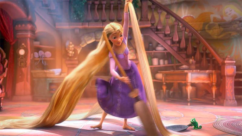 Rapunzel sweeps around her hair.
