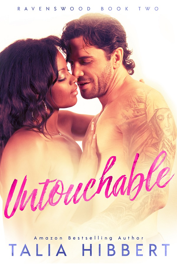 Cover of Untouchable: a Black woman and white man with tattoos and stubble embrace behind pink text that reads UNTOUCHABLE