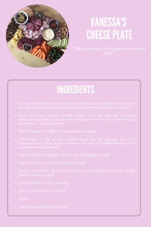 An image showing a recipe on how to put togther a cheese plate from Vanessa.