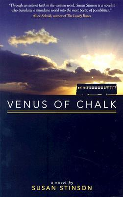 Cover of Venus of Chalk, text and a backlit bus in front of a cloudy sky with sunburst