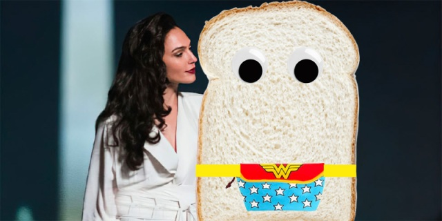A Photoshopped image of Wonder Woman staring adoringly at a piece of white bread with googly eyes wearing a Wonder Woman fanny pack.