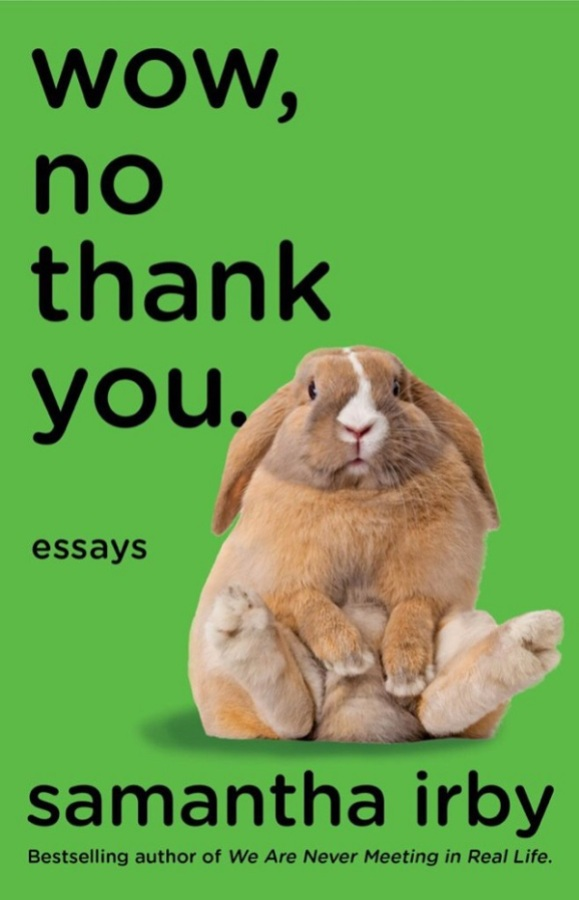 cover of Wow, No Thank You: a bunny sits with its hind legs splayed out in front of it on a kelly green background