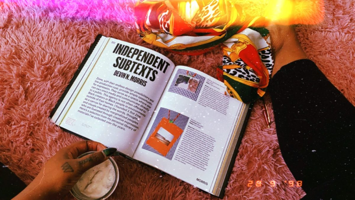 """Image shows an excerpt from the book """"Black Futures"""" called """"Independent subtexts"""". There is a person in the frame and we only see their lower body and there is a scarf in the frame and a cup of coffee."""