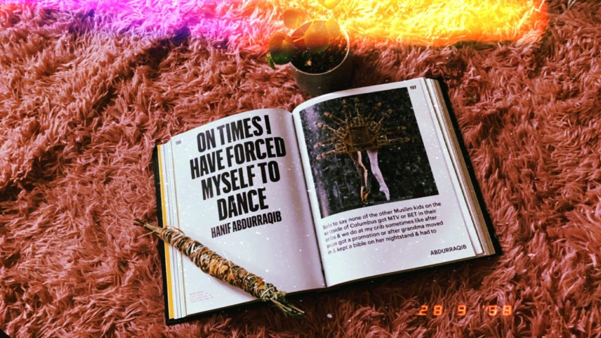 """Image shows an excerpt from the book """"Black Futures"""" called """"On times I have forced myself to dance"""". There is a cleansing bundle and a small plant in the frame."""