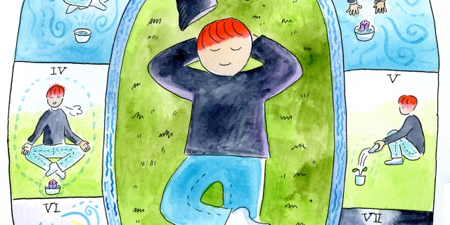 Bapou lays down on the grass and daydreams having a restful Aquarius season that includes yoga and planting new things to grow.