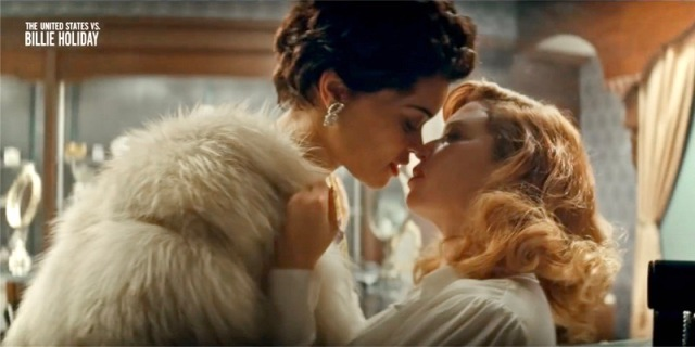 "Billie Holiday (Andra Day) leans in close to kiss Tallulah Bankhead (Natasha Lyonne) in the new film ""The United States vs. Billie Holiday,"" which will depict the singers bisexuality."