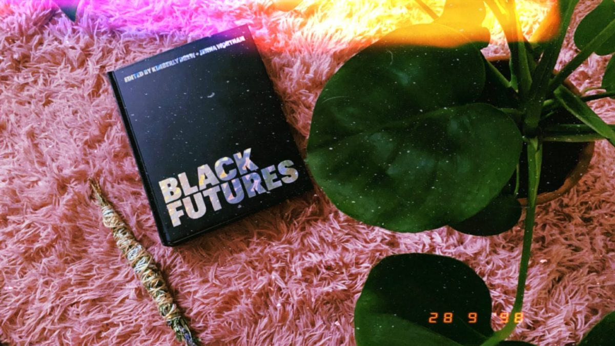 """Photo shows an image of the book """"Black Futures"""" with a cleansing bundle and a large plant in the frame."""