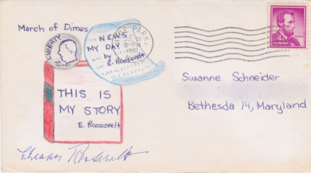 An envelope from the 1940s from Eleanor Roosevelt is a warm peach colored with brightly decorated colored pencil doodles in coral and light blue decorated across the sides and up the middle.
