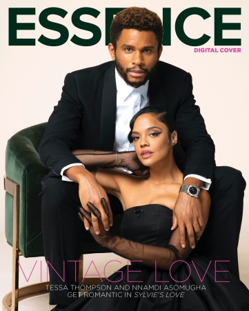 Image shows the cover of Essence magazine where two black actors are pictured in black tie style outfits and sitting in a velvet chair.