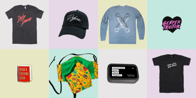 A grid of Autostraddle merch on pastel backgrounds