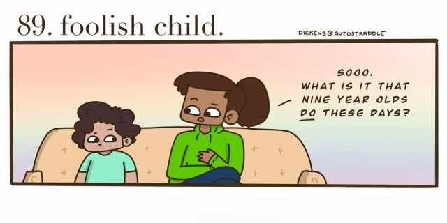 "A small brown child sits on the couch with their aunt. The child is in a turquoise shirt and the aunt is in a green hoodie with a ponytail. She asks the child, ""What do kids DO these days?"""
