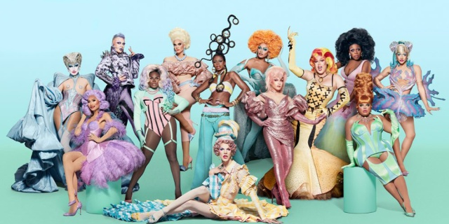 The cast of RuPaul's Drag Race stands together in full costume and wigs against a gradient turquoise blue background. Everyone's too small for noticeable detail, but the image composite makes them all look like pastel colored candies and springtime.