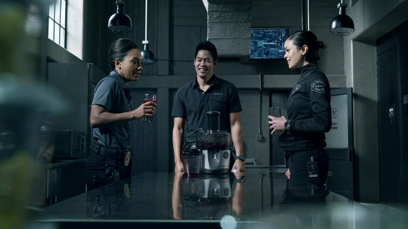 "Erika, Tan and Chris joke between missions on ""S.W.A.T."""