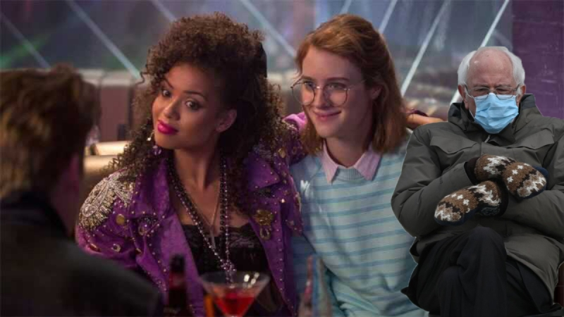 Bernie hangs out in a bar in the 1980s with the women of San Junipero