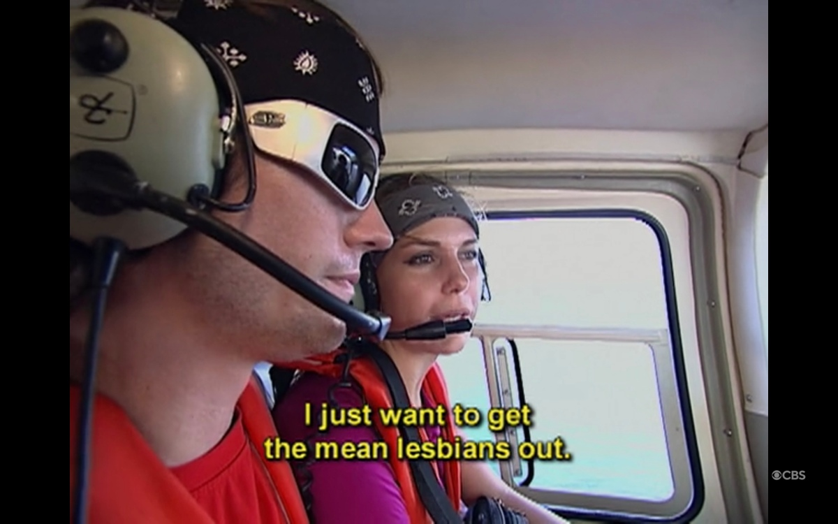 "Caite and Brent in a helicopter saying ""I just want to get the mean lesbians out"""