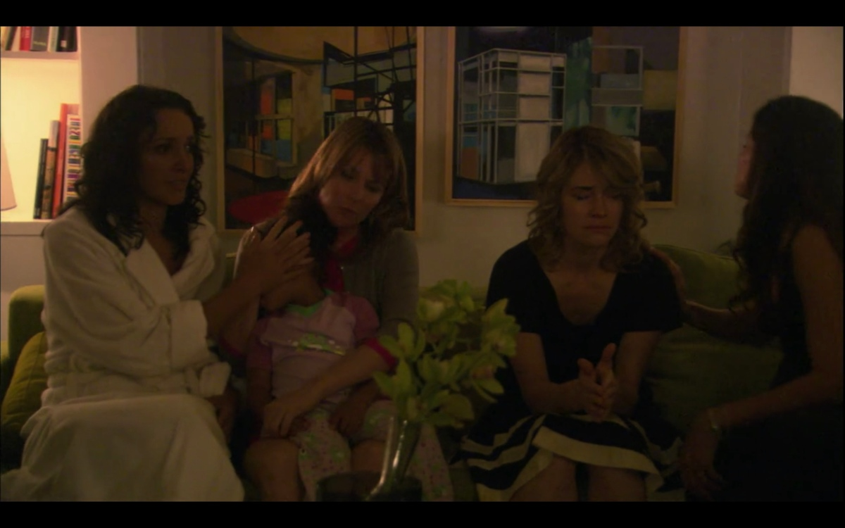 Bette and Tina's living room: Bette, Alice and Tina are upset and covering Angie's eyes
