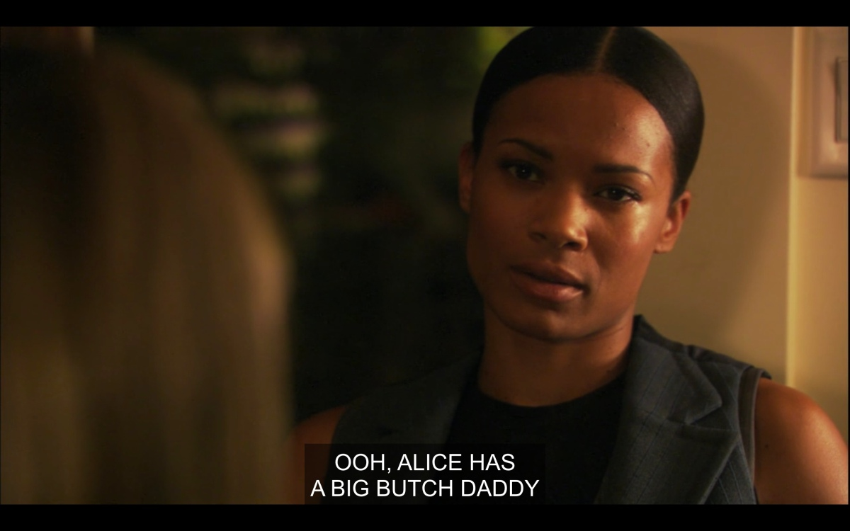 "Tasha looking at Papi and Gaby with despair as Gaby calls her Alice's ""big butch daddy"""