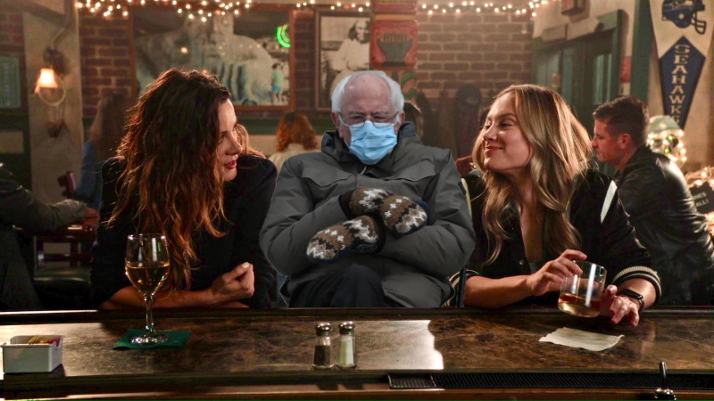 A cut out of Bernie Sanders is grumpy to be caught in the middle of Carina and Maya eye f*cking at a bar on Station 19